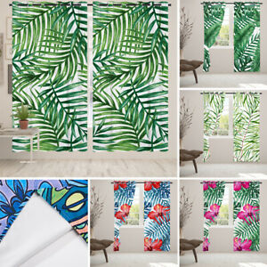 2x Tropical Leaves Eyelet Blackout Door Window Curtains Cafe Kitchen Drapery
