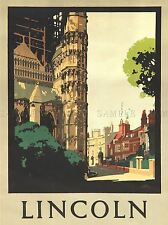 TRAVEL Lincoln Inghilterra CATTEDRALE Arte Poster Stampa lv4050