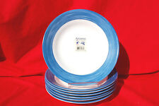 "Arcoroc Brush Blue Jean Blue and White 8 3/4"" Rim Soup Dishes Lot of 7 S7979"