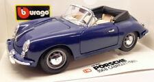 Burago 1/18 Scale Diecast - 3051 Porsche 356B Cabriolet 1961 Flat Blue