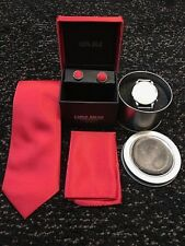 Luxury Mens Tie and Watch Gift Set - RED