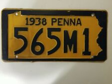 1938 Antique Pennsylvania License Plate Very Nice No Rust At All
