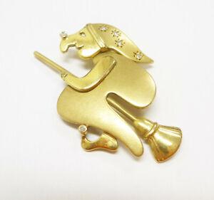 Beweglicher Anhänger Hexe mit Diamant 585 Gold 14 Karat Gelbgold - 507-11#