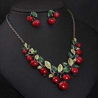 1 fashion red cherry jewelry set metal bridal necklace earrings FE