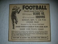 Chicago Bears Vs Cleveland Browns 1951 Advertisement Solider Field
