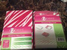 2 NEW Soft MICROPLUSH Zipper PILLOW COVER White PINK ZEBRA Standard Jumbo Queen