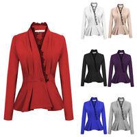 Women Lace Trim One Button Long Sleeve Slim Peplum Blazer Jacket Coat Rapture