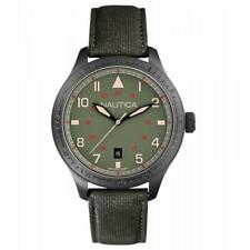 Mens Watch NAUTICA BFD 105 A11108G Leather Military Green Black Sub 100mt NEW