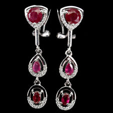 Round Red Ruby 6mm Cz 14K White Gold Plate 925 Sterling Silver Earrings