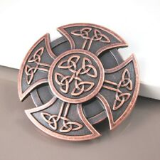 Vintage Red Celtic Round Knot Shield Cross Belt Buckle FREE GIFT BOX