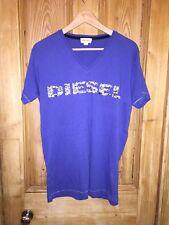 "Diesel Blue Logo T-Shirt Size L AtoA23"" L29"" *C1"