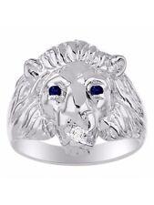 Diamond & Sapphire Lion Head Ring Sterling Silver