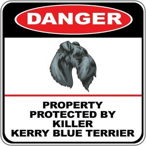 Crossing Sign Danger Property Protected Killer Kerry Blue Terrier Dog Cross Xing