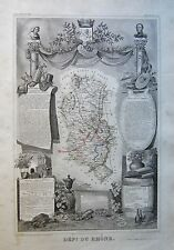 1856 DECORATIVE ANTIQUE MAP LEVASSEUR- DEPT DU RHONE, LYON, VILLEFRANCHE