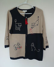Blue & Brown Full Zip Threaded Kitty Cats Sweater Christopher & Banks Small