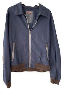 PRADA Jacke blau braun Nylon Leder Gr. 56