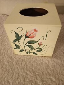 Vintage Wood Square Hand Painted Antique  w/ Coral Flowers Tissue Box