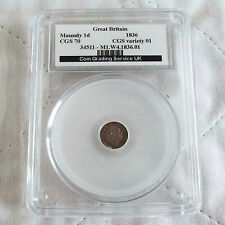 More details for william iv 1836 silver maundy one penny slabbed cgs 70