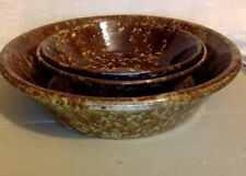 Antique Pottery. Set of 3 Large Short Graduated Spongeware Bowls.