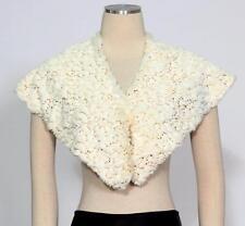 S.L. Fashions SLNY White Gold One Size Sequin Stole Faux Fur Knobs Bolero Cape*