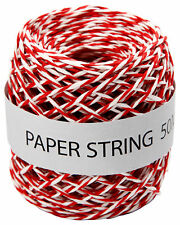 Papierschnur, 50 m, rot-weiß, Papierkordel Papierband Bastelschnur Packschnur