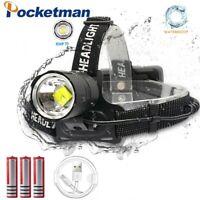 Powerful 150000LM XHP70 LED Headlamp Zoom Headlight Rechargeable Fishing Lamp
