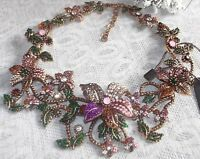 CHUNKY SPARKLING PINK CRYSTAL & RHINESTONE FLORAL ARRAY STATEMENT NECKLACE