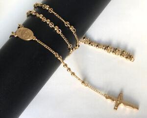 Rosenkranz Edelstahl Halskette Kreuz Anhänger 999 Gold 24K vergoldet Unisex