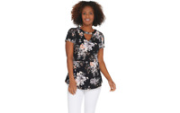 Isaac Mizrahi Live! Floral Printed Knit Peplum Top with Keyhole Black Small A308