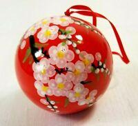 """Vintage Japanese Ceramic Ornament """"OKINAWA"""" Floral Design"""