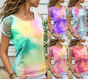 Womens Rainbow Tie Dye Hollow-out T-Shirt Ladies Short Sleeve Summer Casual Tops