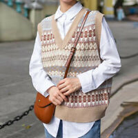 Lady Knitted Preppy Sweater Vest Sleeveless V-neck Jumper Tank Tops Relaxed Fit