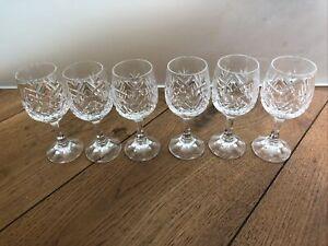 Set of 6 Quality Vintage Cut Glass Lead Crystal Sherry Port Liqueur Glasses, VGC