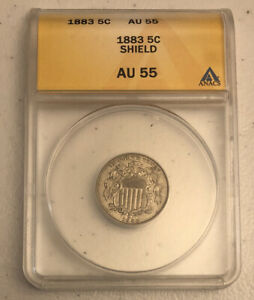1883 Shield Nickel AU 55 ANACS Certified Authenticated 5 Cents Currency