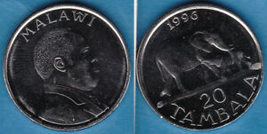 Malawi 1996 20 Tambala Elephants Nickel-Clad-Steel KM-29 aUNC #108