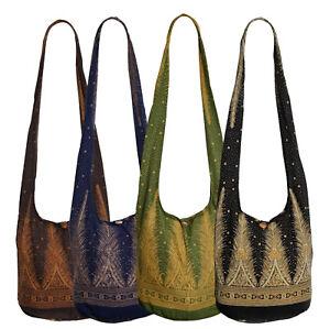 Handbag Shoulder Bag Hippie Goa Fabric Ethno Feathers Indian BT30