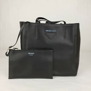 Prada Black Leather Tote Bag with Blue Lining and Removable Leather Pouch 1BG209