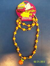 Halloween Carnival Party Favor Jewelry Beaded Bracelet & Necklace Set - Pumpkin