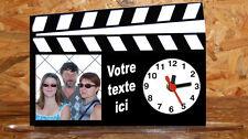 Horloge de bureau style clap cinema personnalisée 1 photo de votre choix