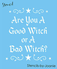 Joanie Halloween Stencil Are You Good Bad Witch Scroll Swirl Star Border Signs