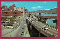 Fort Pitt Boulevard Pittsburgh Pennsylvania PA autos cars postcard