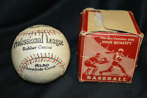 Vintage Professional League Anchor Brand Red / Green Stitched Baseball & Box