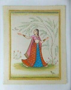 Ancienne Peinture miniature Enluminure indienne peint main tableau Femme oiseau