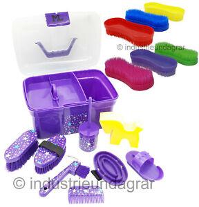 ML Pferde Putzbox für Kinder Lila Sterne 8teilig mit Inhalt Putzkasten +3Bürsten