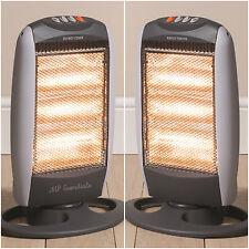 2x Daewoo 1200W Portable Home & Office Electric Oscillating 3 Bar Halogen Heater