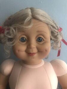 Grannyworld Nude Doll vinyl cloth Lady Grandma Gray Hair Blue Eyes Braids 20 In