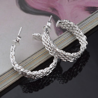Elegant 925 Sterling Silver Women Weaved Ear Stud Hoop Earring Fashion Jewelry