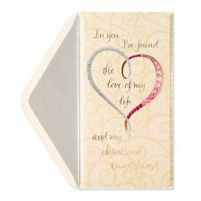 "Papyrus ""Happy Anniversary"" Greeting card Gorgeous Silver & Pink Heart Must see"