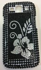 Diamond Bling Black Silver Flower Case Cover fits Samsung Galaxy S3 i9300