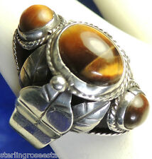 """Vintage 1"""" Tiger's Eye Posion Pill 0.925 STERLING SILVER Ring adjust 8.5 to 12"""